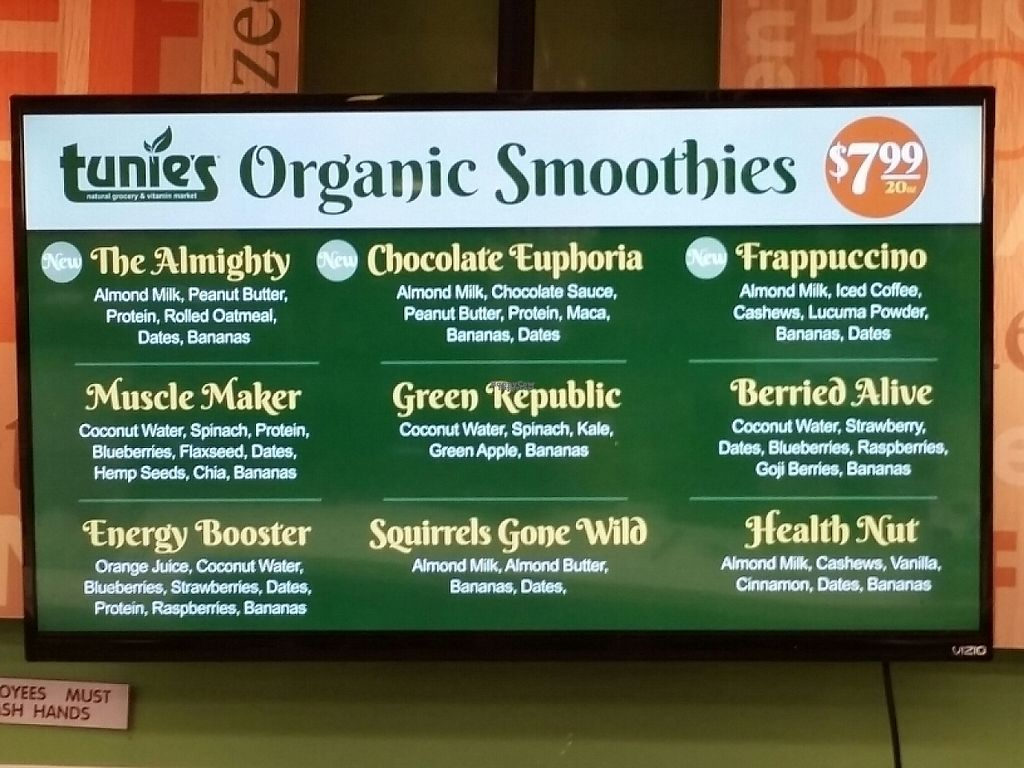 """Photo of Tunie's Natural Grocery and Vitamin Market  by <a href=""""/members/profile/eric"""">eric</a> <br/>smoothie options <br/> December 3, 2016  - <a href='/contact/abuse/image/65714/196979'>Report</a>"""