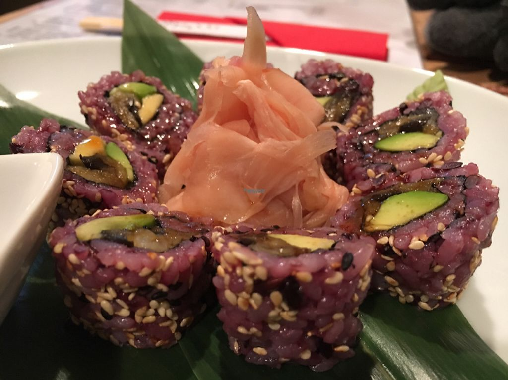 """Photo of Edamame Vegan Sushi  by <a href=""""/members/profile/hack_man"""">hack_man</a> <br/>aubergine, teriyaki with avocado and sesame sushi  <br/> March 16, 2017  - <a href='/contact/abuse/image/65741/237115'>Report</a>"""