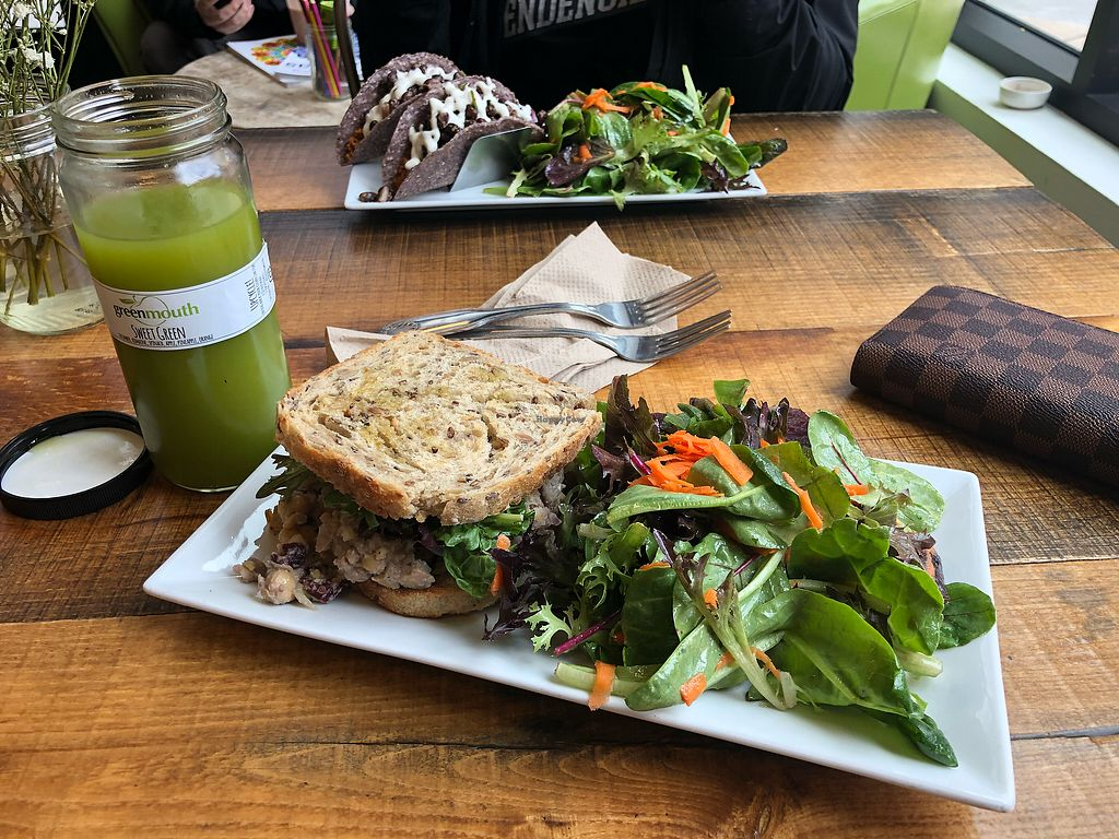 """Photo of Greenmouth Juice Cafe  by <a href=""""/members/profile/khajioannou77"""">khajioannou77</a> <br/>Chickpea salad sandwich  <br/> April 10, 2018  - <a href='/contact/abuse/image/65755/383460'>Report</a>"""