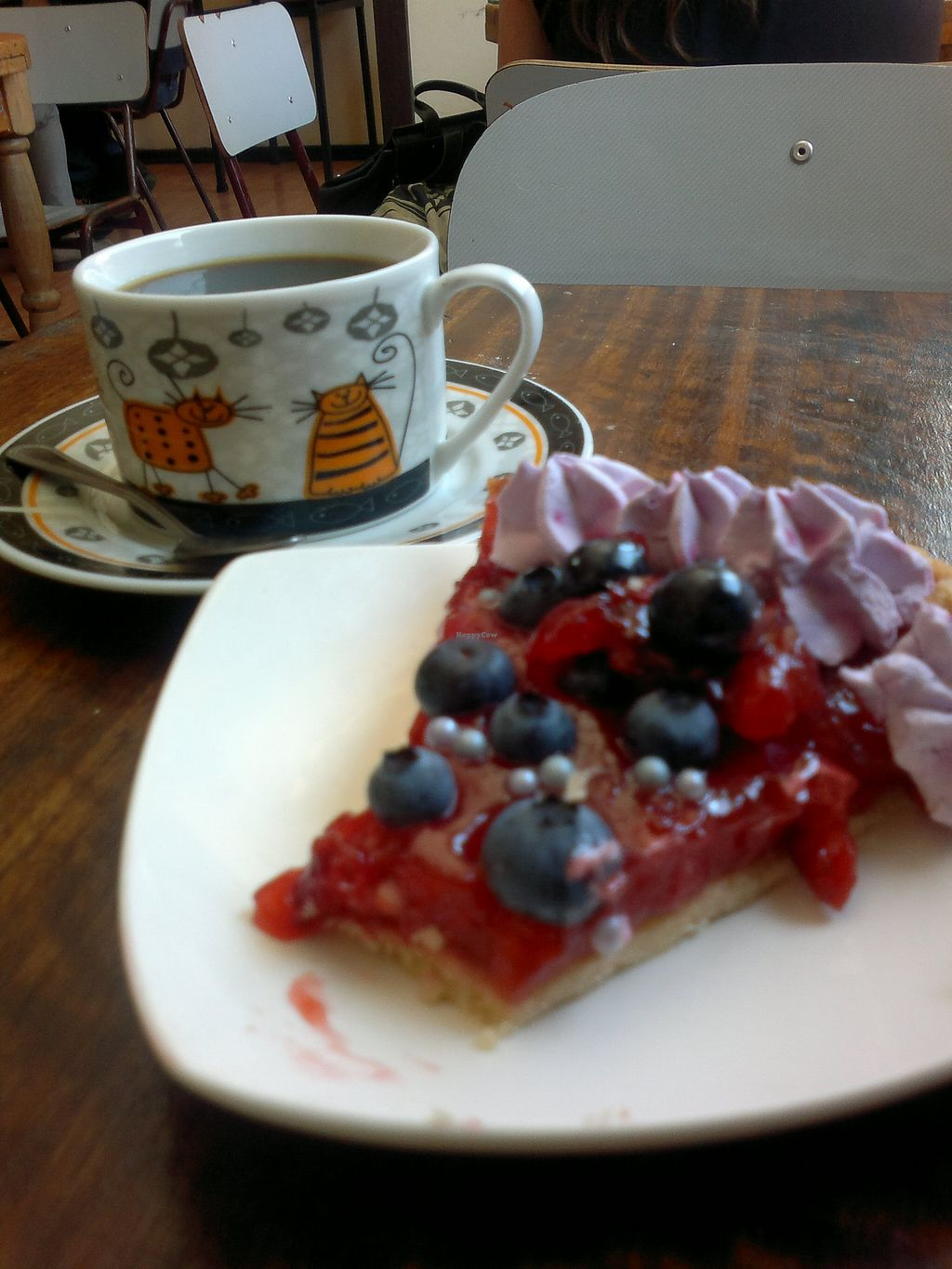 """Photo of Komedor Vegetariano  by <a href=""""/members/profile/Patapompon"""">Patapompon</a> <br/>Vegan 'berries tart' and 'figs coffee' in the Komedor Vegetariano (November 2015) <br/> November 27, 2015  - <a href='/contact/abuse/image/65765/126315'>Report</a>"""