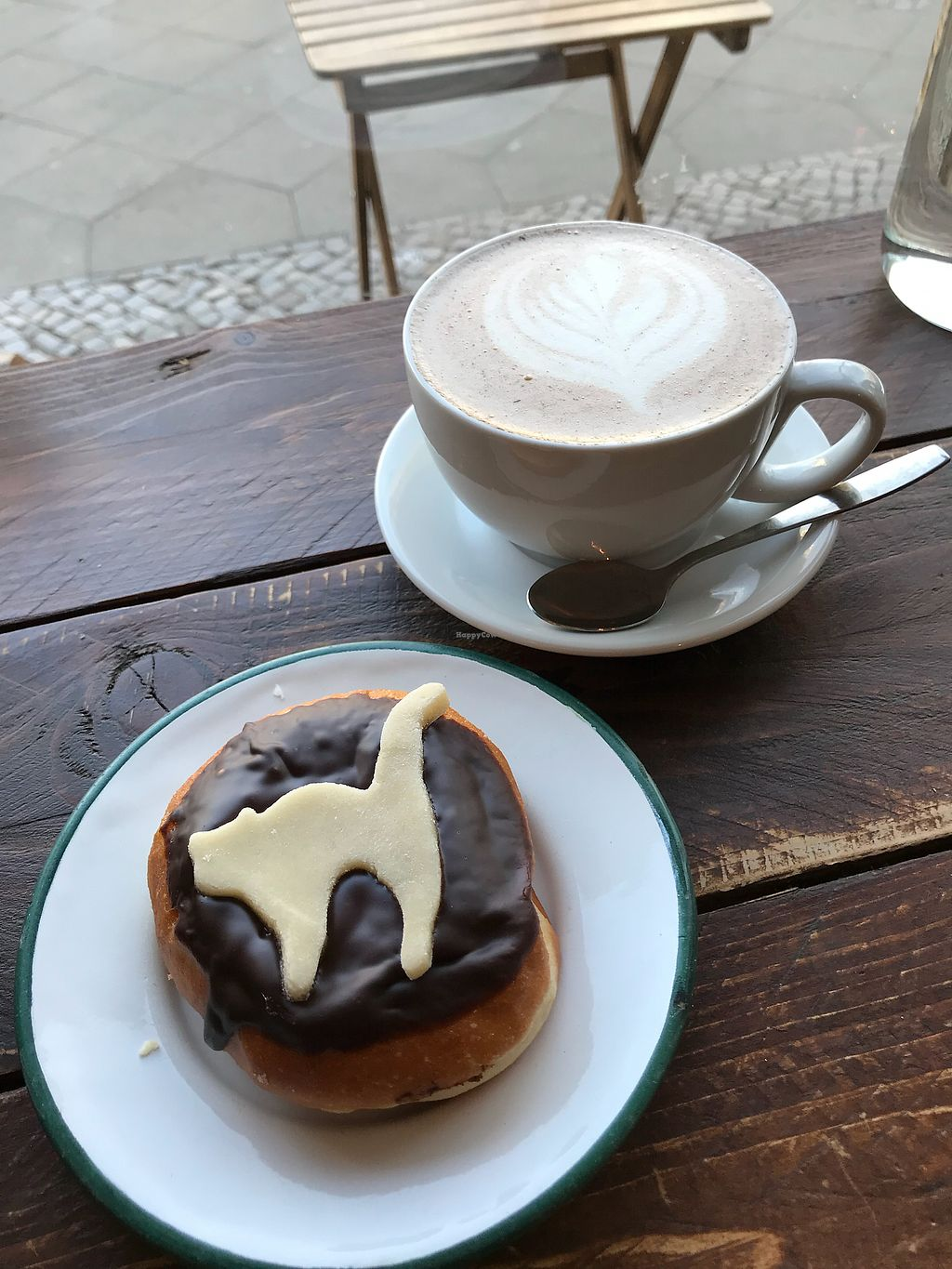 """Photo of Brammibal's Donuts - Maybachufer  by <a href=""""/members/profile/JijiVanMeow"""">JijiVanMeow</a> <br/>Hot chocolate & chocolate filled donut <br/> February 22, 2018  - <a href='/contact/abuse/image/65783/362365'>Report</a>"""