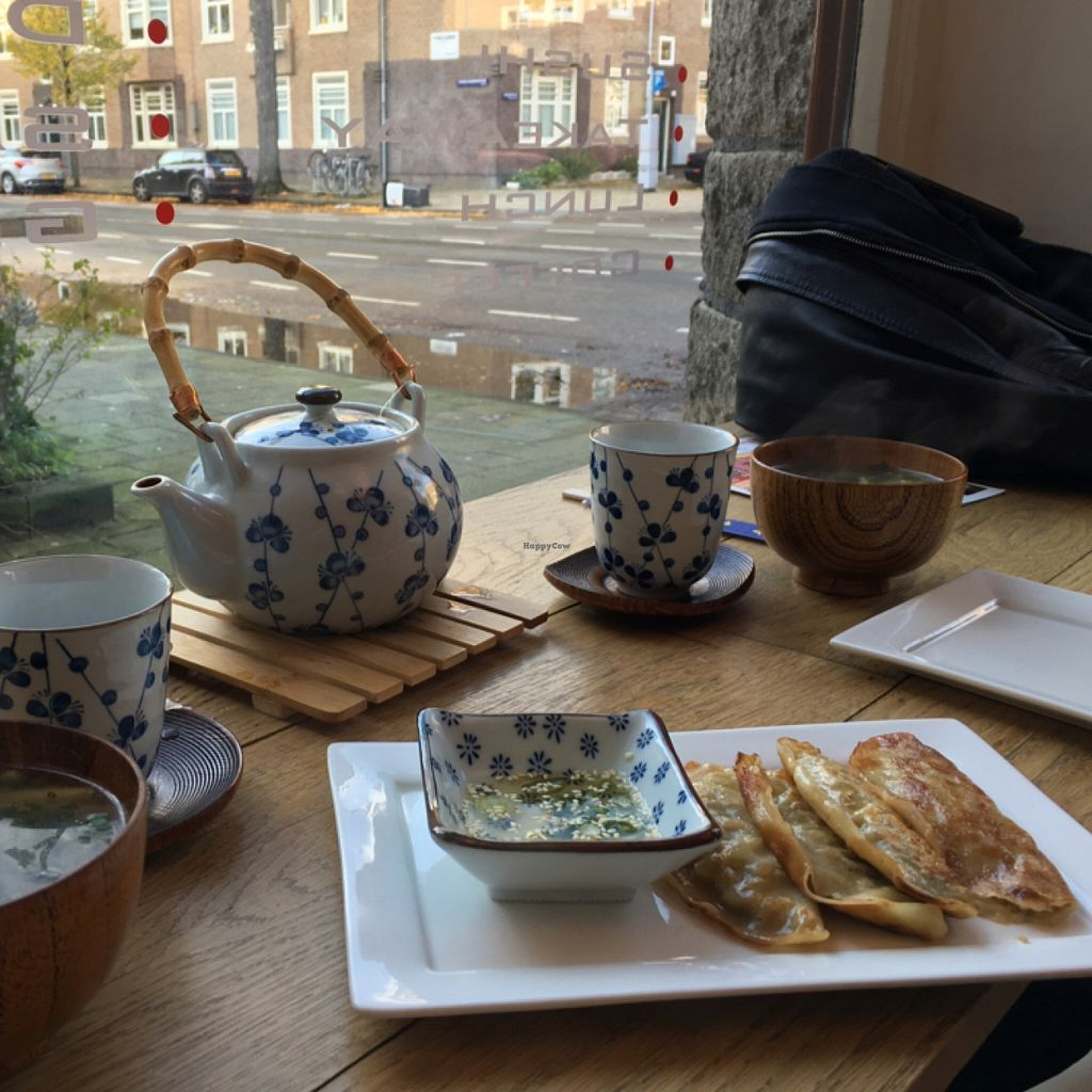 """Photo of ii Japanese Deli  by <a href=""""/members/profile/VeganTrav"""">VeganTrav</a> <br/>vegan gyoza and miso soup <br/> November 28, 2015  - <a href='/contact/abuse/image/65803/126392'>Report</a>"""