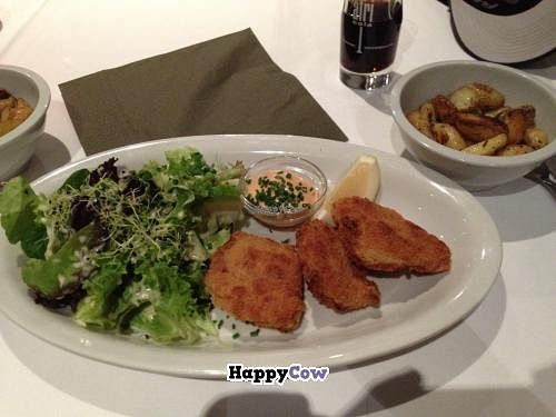 """Photo of Samses  by <a href=""""/members/profile/vegan_ryan"""">vegan_ryan</a> <br/>Schnitzel with salad and potatoes <br/> October 30, 2013  - <a href='/contact/abuse/image/6584/57573'>Report</a>"""
