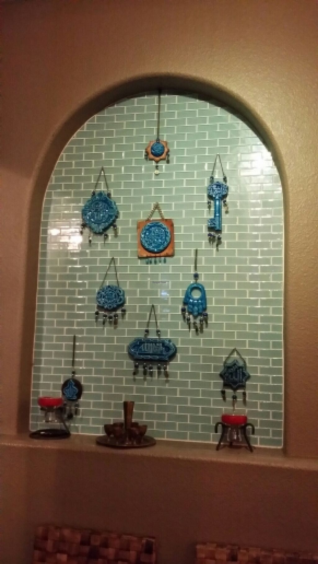"""Photo of East West Cafe  by <a href=""""/members/profile/catbone"""">catbone</a> <br/>Turquoise Prayer Plaques <br/> February 14, 2016  - <a href='/contact/abuse/image/6597/136357'>Report</a>"""