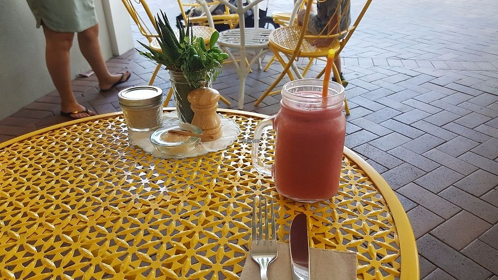 "Photo of Betty's Bohemian Beach Cafe  by <a href=""/members/profile/Hotfuzzy69"">Hotfuzzy69</a> <br/>Strawberry, banana and coconut water smoothie <br/> April 25, 2017  - <a href='/contact/abuse/image/66012/252178'>Report</a>"