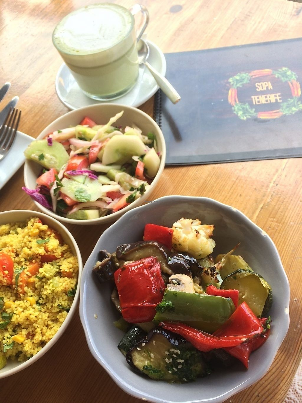 "Photo of SOPA  by <a href=""/members/profile/EmmaSchofield"">EmmaSchofield</a> <br/>Cous cous, veggies, salad and matcha cappuccino made with almond milk <br/> June 2, 2017  - <a href='/contact/abuse/image/66038/265091'>Report</a>"