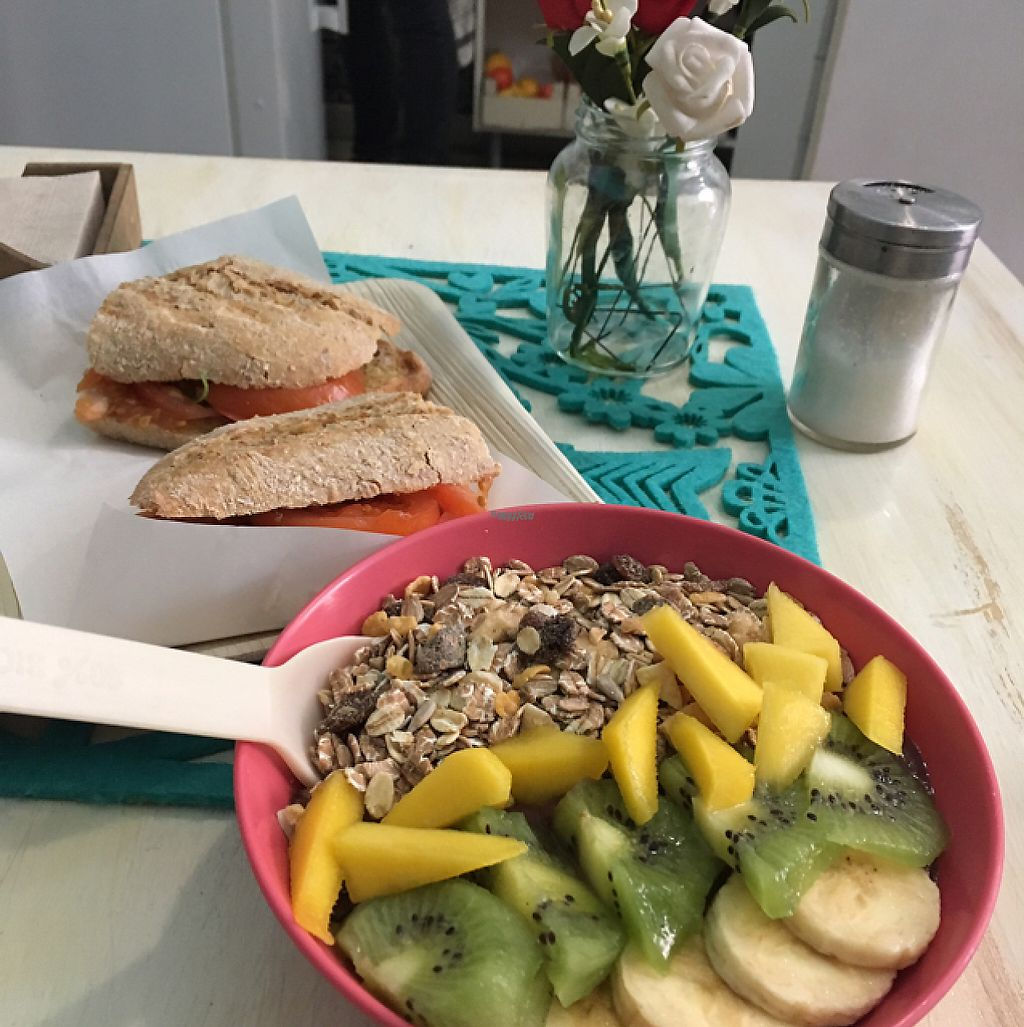 """Photo of Milk Away  by <a href=""""/members/profile/josh2l"""">josh2l</a> <br/>açai bowl with tomato and olive oil sandwich  <br/> January 18, 2017  - <a href='/contact/abuse/image/66043/213072'>Report</a>"""