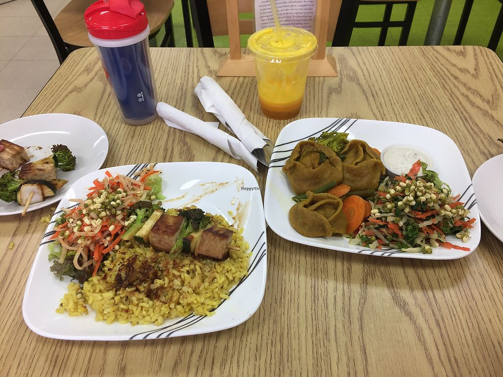 """Photo of Purple Sprout Cafe  by <a href=""""/members/profile/bsdeleon"""">bsdeleon</a> <br/>Tofu Kabob and Lentil Dumplings  <br/> October 6, 2017  - <a href='/contact/abuse/image/66067/312460'>Report</a>"""