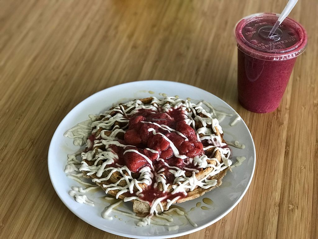 """Photo of Purple Sprout Cafe  by <a href=""""/members/profile/PiaP.Prosser"""">PiaP.Prosser</a> <br/>Waffles with strawberry and cashewcream  <br/> November 11, 2017  - <a href='/contact/abuse/image/66067/324228'>Report</a>"""