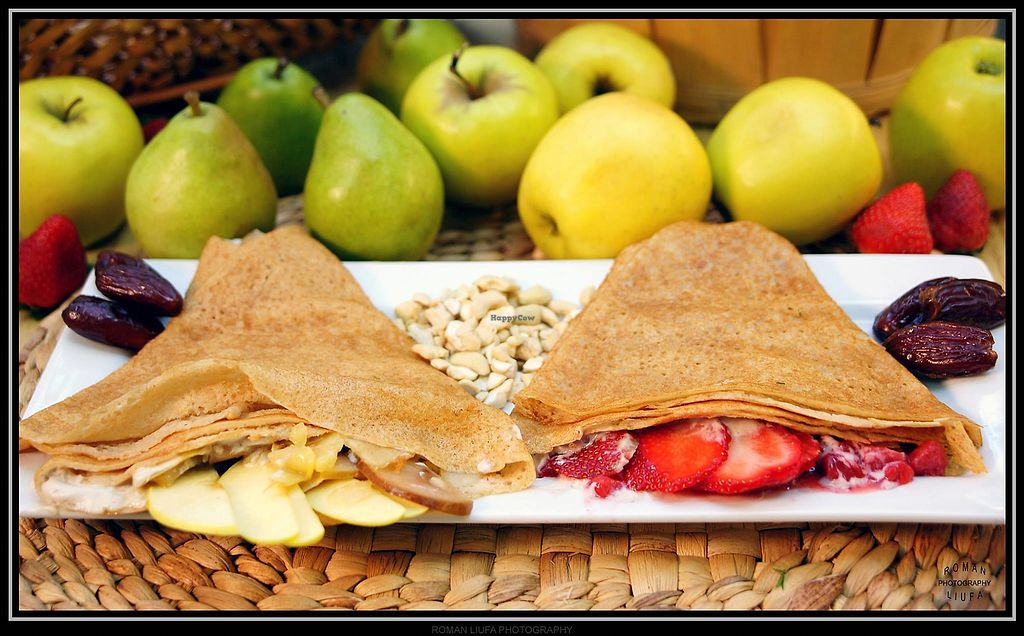 """Photo of Purple Sprout Cafe  by <a href=""""/members/profile/PurpleSproutCafe"""">PurpleSproutCafe</a> <br/>GF Sugar-free Crepes with Apple-Pear or Strawberry jam and Cashew Whipped Cream <br/> April 13, 2018  - <a href='/contact/abuse/image/66067/385172'>Report</a>"""