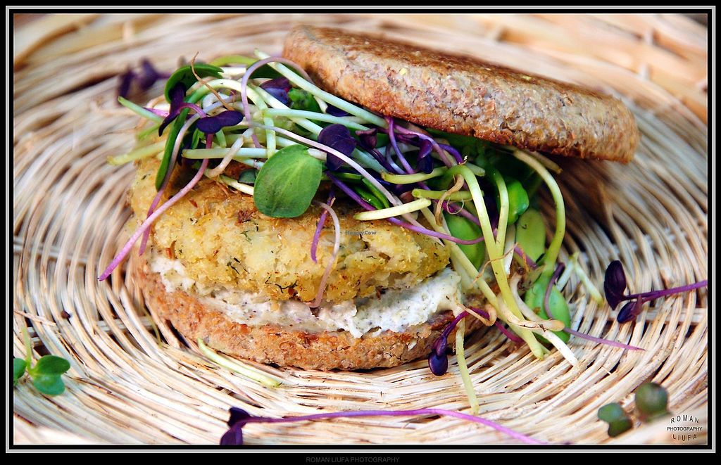 """Photo of Purple Sprout Cafe  by <a href=""""/members/profile/PurpleSproutCafe"""">PurpleSproutCafe</a> <br/>""""Bagel and Cream Cheese"""" - toasted sprouted whole grain English Muffin with Cashew Cream Cheese, optional homemade Cannellini Bean Sausage, and microgreens. Can be GF.  <br/> April 13, 2018  - <a href='/contact/abuse/image/66067/385184'>Report</a>"""