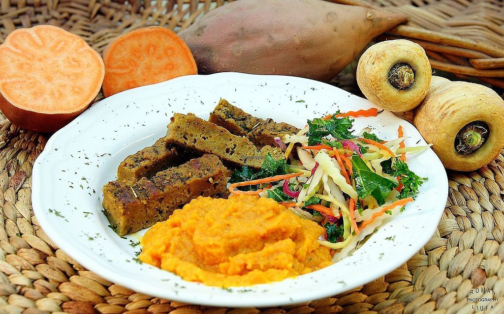 """Photo of Purple Sprout Cafe  by <a href=""""/members/profile/PurpleSproutCafe"""">PurpleSproutCafe</a> <br/>Braised Seitan with Sweet Potato mash (homemade seitan) <br/> April 13, 2018  - <a href='/contact/abuse/image/66067/385185'>Report</a>"""