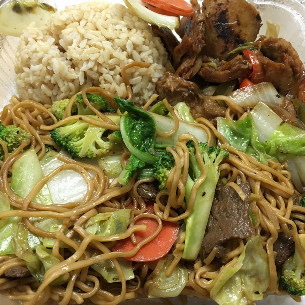 """Photo of Loving Hut  by <a href=""""/members/profile/Tigra220"""">Tigra220</a> <br/>combo plate with Chow Mein, Chicken-less Sauté, and brown rice -$10.95 (available w/o rice for $9.95) <br/> December 13, 2015  - <a href='/contact/abuse/image/66087/128190'>Report</a>"""
