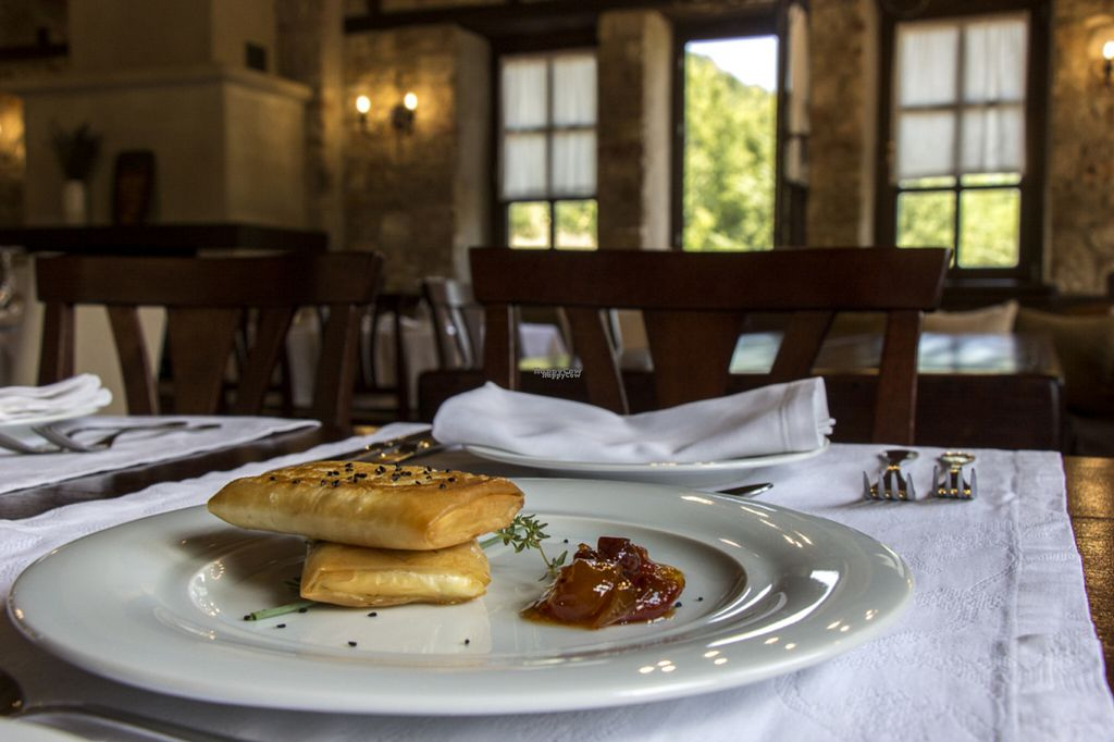 """Photo of Ktima Bellou Restaurant  by <a href=""""/members/profile/afroditib"""">afroditib</a> <br/>Fried local goat feta, wrapped in a phyllo pastry, with a homemade tomato & lemon jam <br/> September 20, 2016  - <a href='/contact/abuse/image/66104/176960'>Report</a>"""