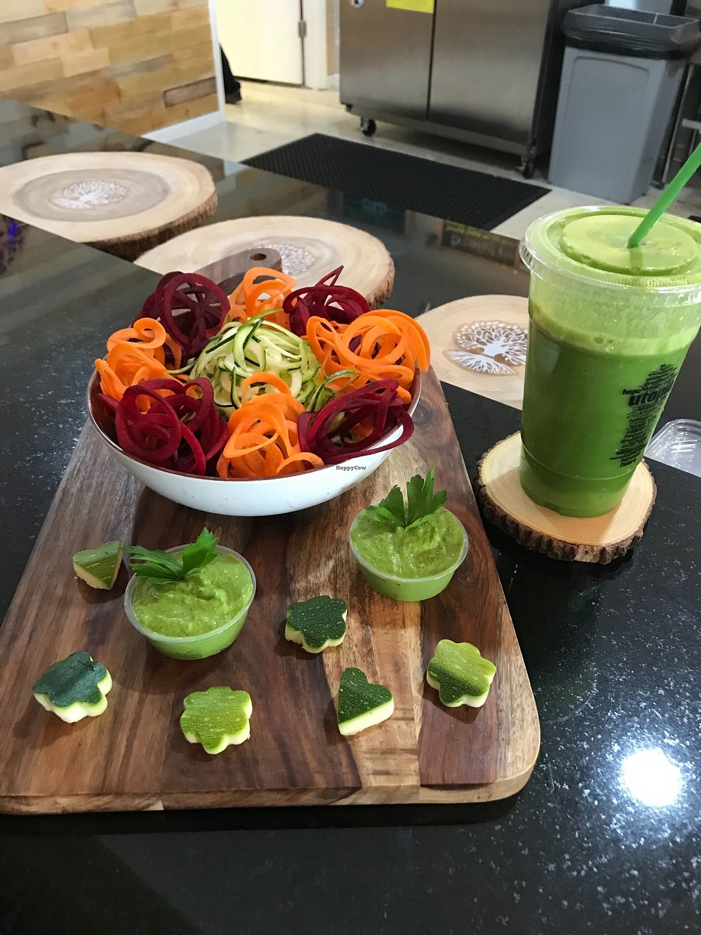 """Photo of Utopia Juice Bar  by <a href=""""/members/profile/CaptVegan"""">CaptVegan</a> <br/>Zucchini Spaghetti and a fresh pressed Eden Greens drink.  <br/> January 14, 2018  - <a href='/contact/abuse/image/66119/346642'>Report</a>"""