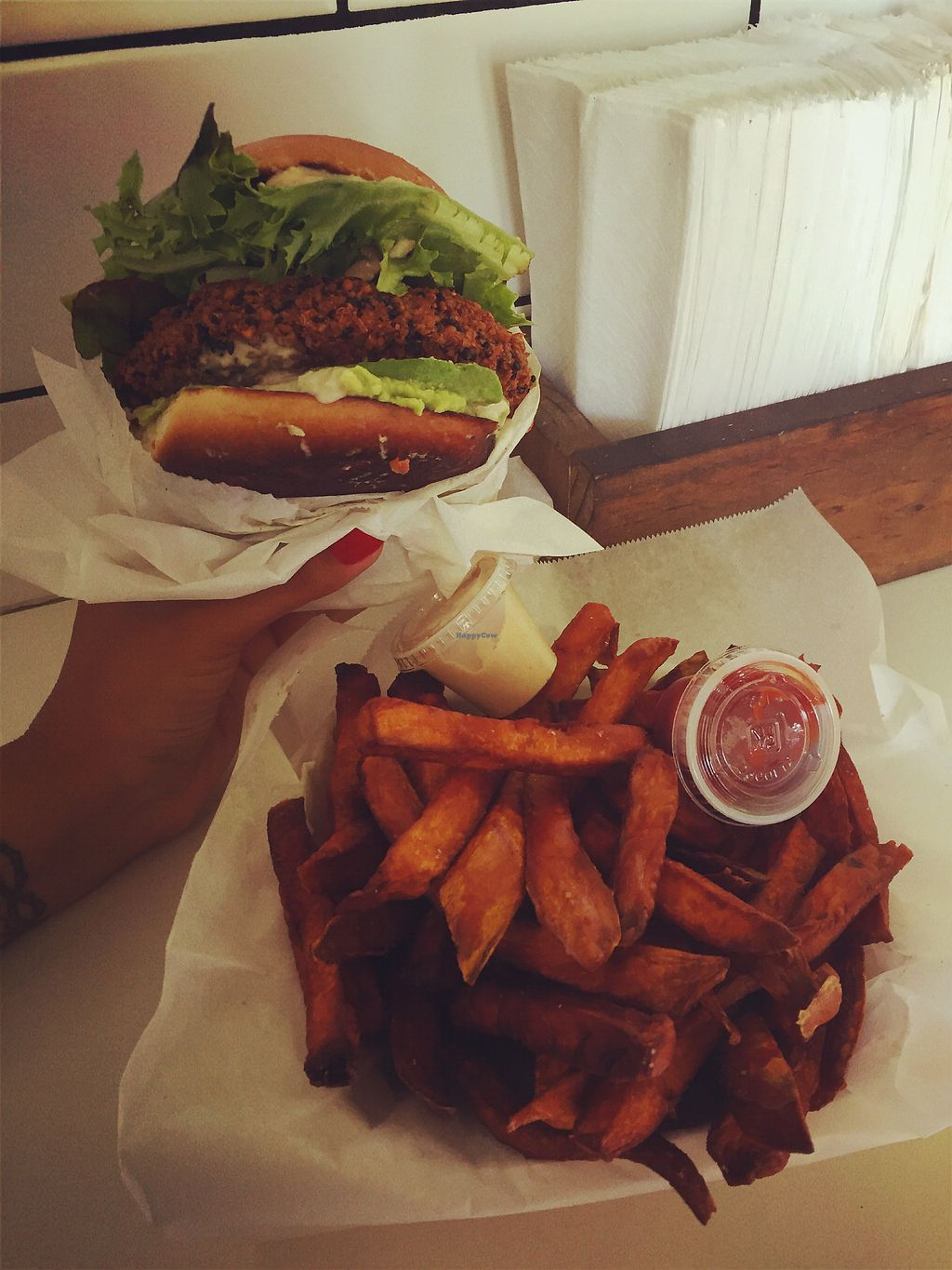 "Photo of CLOSED: Fala Bar - Venice  by <a href=""/members/profile/jergusko"">jergusko</a> <br/>Falafel burger & sweet potato fries <br/> October 24, 2017  - <a href='/contact/abuse/image/66143/318275'>Report</a>"