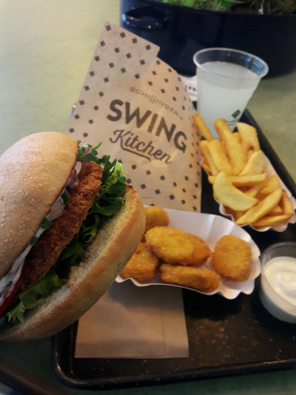 "Photo of Swing Kitchen - Operngasse  by <a href=""/members/profile/DominicPaul"">DominicPaul</a> <br/>Vienna Burger, vegan nuggets, Vienna dipping sauce and fries... the lemonade was good.  <br/> December 18, 2017  - <a href='/contact/abuse/image/66158/336849'>Report</a>"