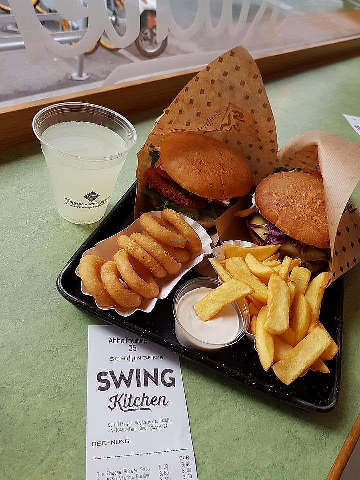 "Photo of Swing Kitchen - Operngasse  by <a href=""/members/profile/Valises%20Gourmandises"">Valises Gourmandises</a> <br/>Vienna burger with onion rings, cheeseburger with fries and the best aioli <br/> December 28, 2017  - <a href='/contact/abuse/image/66158/340012'>Report</a>"