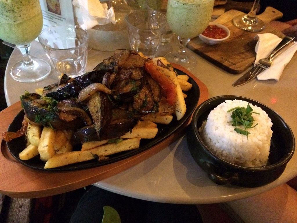 """Photo of ExotiK  by <a href=""""/members/profile/Mslanei"""">Mslanei</a> <br/>Flame grilled eggplant and onion on a bed of fried potato with a side of rice. A bit oily, but delicious! Also in the picture is the bottom of the lime and mint frappe. Very refreshing! <br/> November 24, 2015  - <a href='/contact/abuse/image/66169/126123'>Report</a>"""