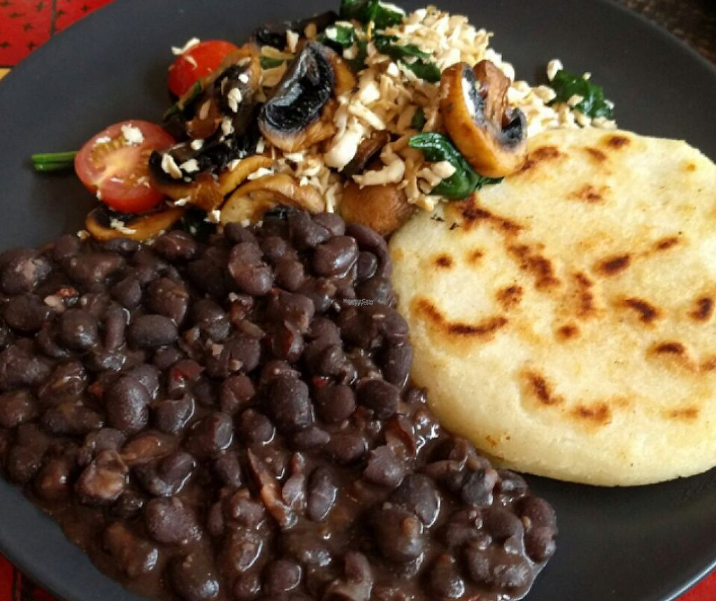 """Photo of ExotiK  by <a href=""""/members/profile/chapstick"""">chapstick</a> <br/>vegan big breakfast: scrambled tofu, black beans and areppo  <br/> September 17, 2016  - <a href='/contact/abuse/image/66169/248157'>Report</a>"""