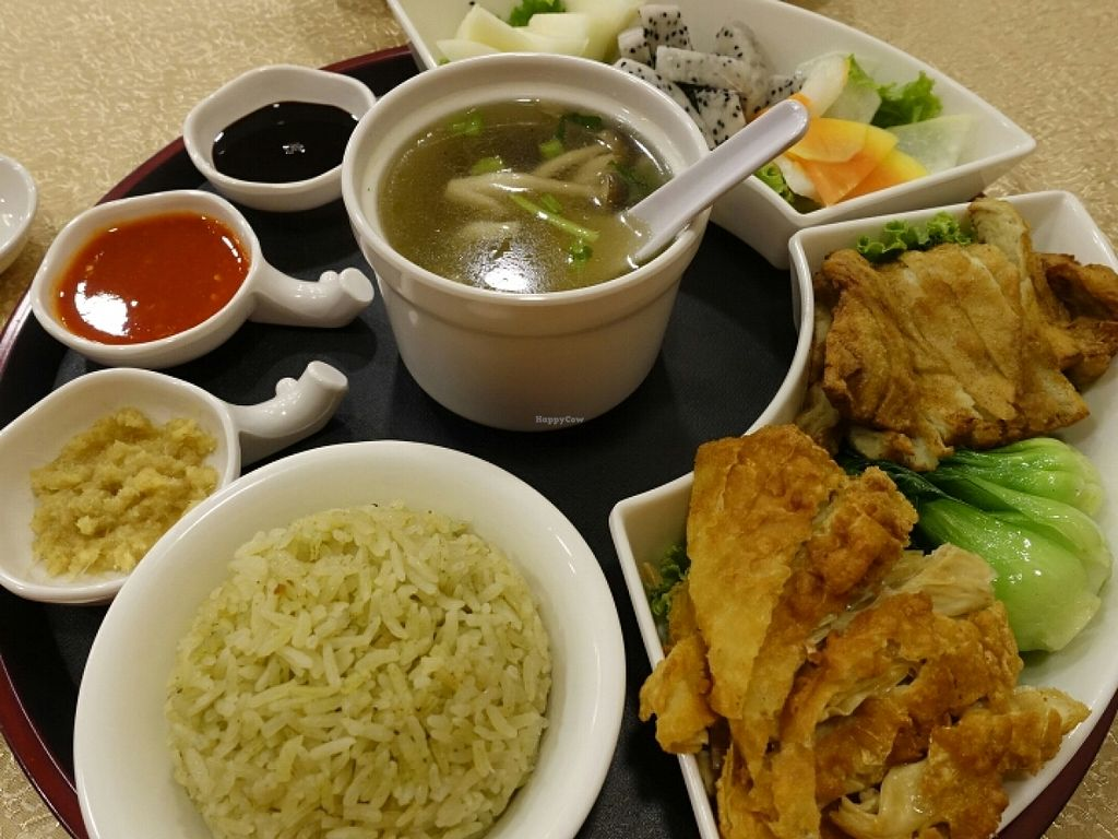 """Photo of CLOSED: Kwan Inn Vegetarian  by <a href=""""/members/profile/JimmySeah"""">JimmySeah</a> <br/>mock chicken rice set <br/> June 19, 2016  - <a href='/contact/abuse/image/66184/154750'>Report</a>"""