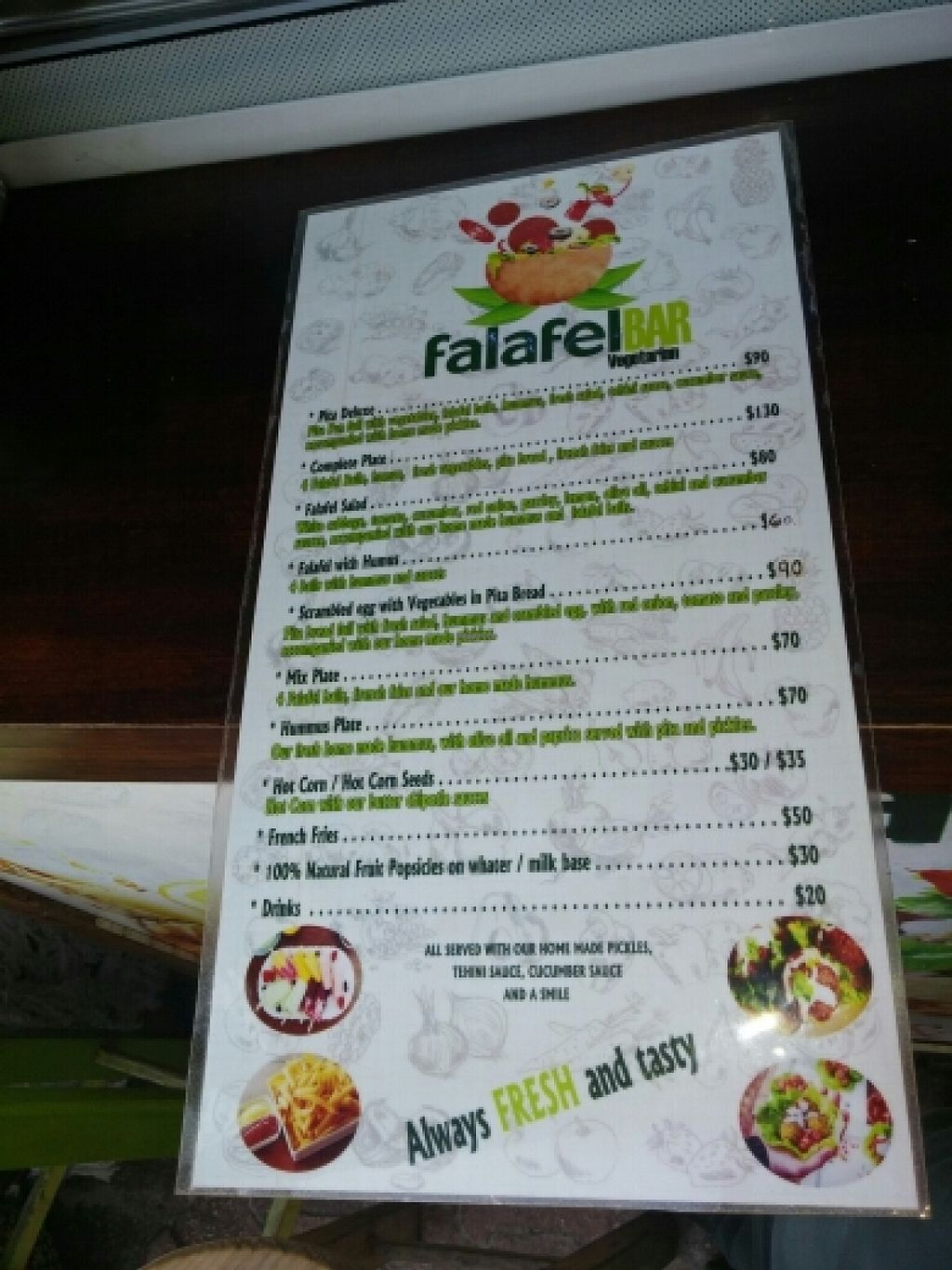 "Photo of CLOSED: Falafel Bar  by <a href=""/members/profile/gaffer"">gaffer</a> <br/>Menu <br/> January 31, 2016  - <a href='/contact/abuse/image/66207/134470'>Report</a>"