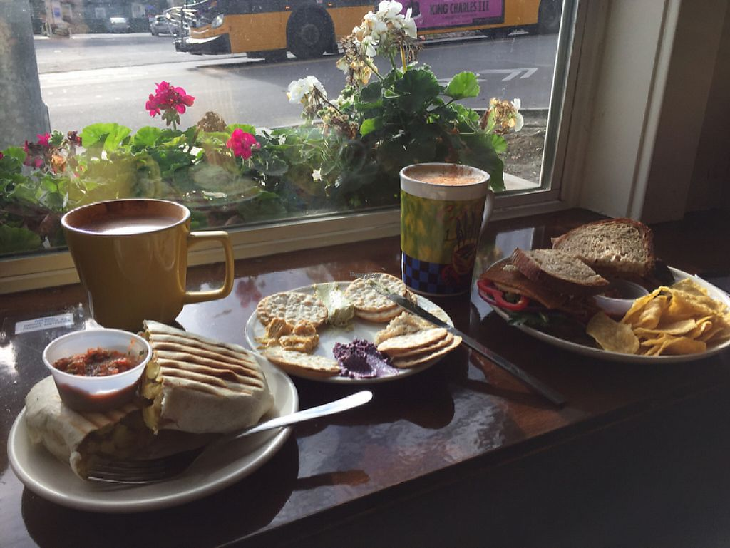 """Photo of CLOSED: 701 Coffee  by <a href=""""/members/profile/BumbleBri9"""">BumbleBri9</a> <br/>cheesy potato burrito, cream cheese plate, 701 sandwich, and coffee <br/> November 21, 2016  - <a href='/contact/abuse/image/66227/192942'>Report</a>"""