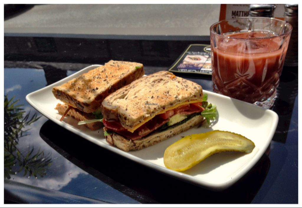 """Photo of CLOSED: Lolo's Vegan Restaurant & Bar  by <a href=""""/members/profile/danbirch1"""">danbirch1</a> <br/>Vegan Club Sandwich with Apple & Raspberry Juice <br/> May 24, 2016  - <a href='/contact/abuse/image/66308/150653'>Report</a>"""