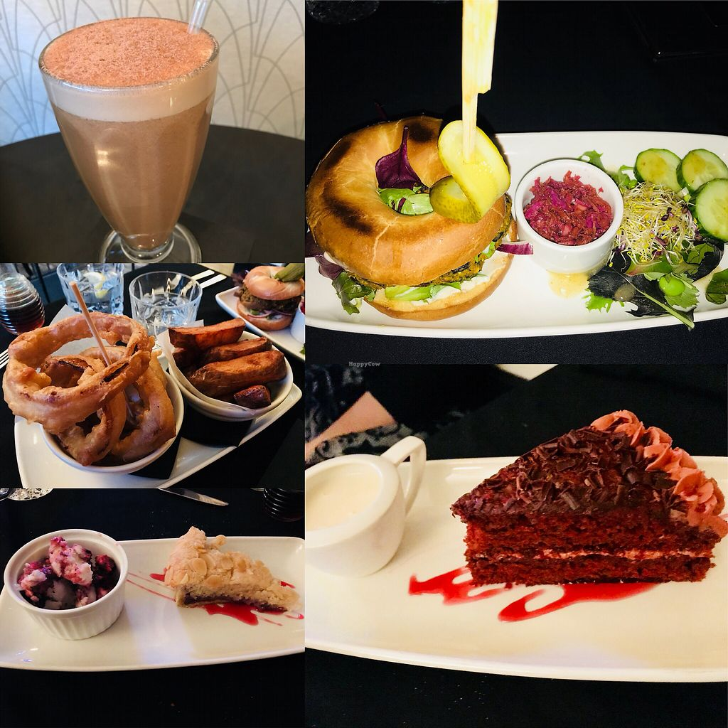 """Photo of CLOSED: Lolo's Vegan Restaurant & Bar  by <a href=""""/members/profile/VickiWanSlattery"""">VickiWanSlattery</a> <br/>Chai latte, burger of the day, red velvet cake, Bakewell tart and blackcurrant ice cream, onion rings and thick cut chips <br/> February 16, 2018  - <a href='/contact/abuse/image/66308/360016'>Report</a>"""