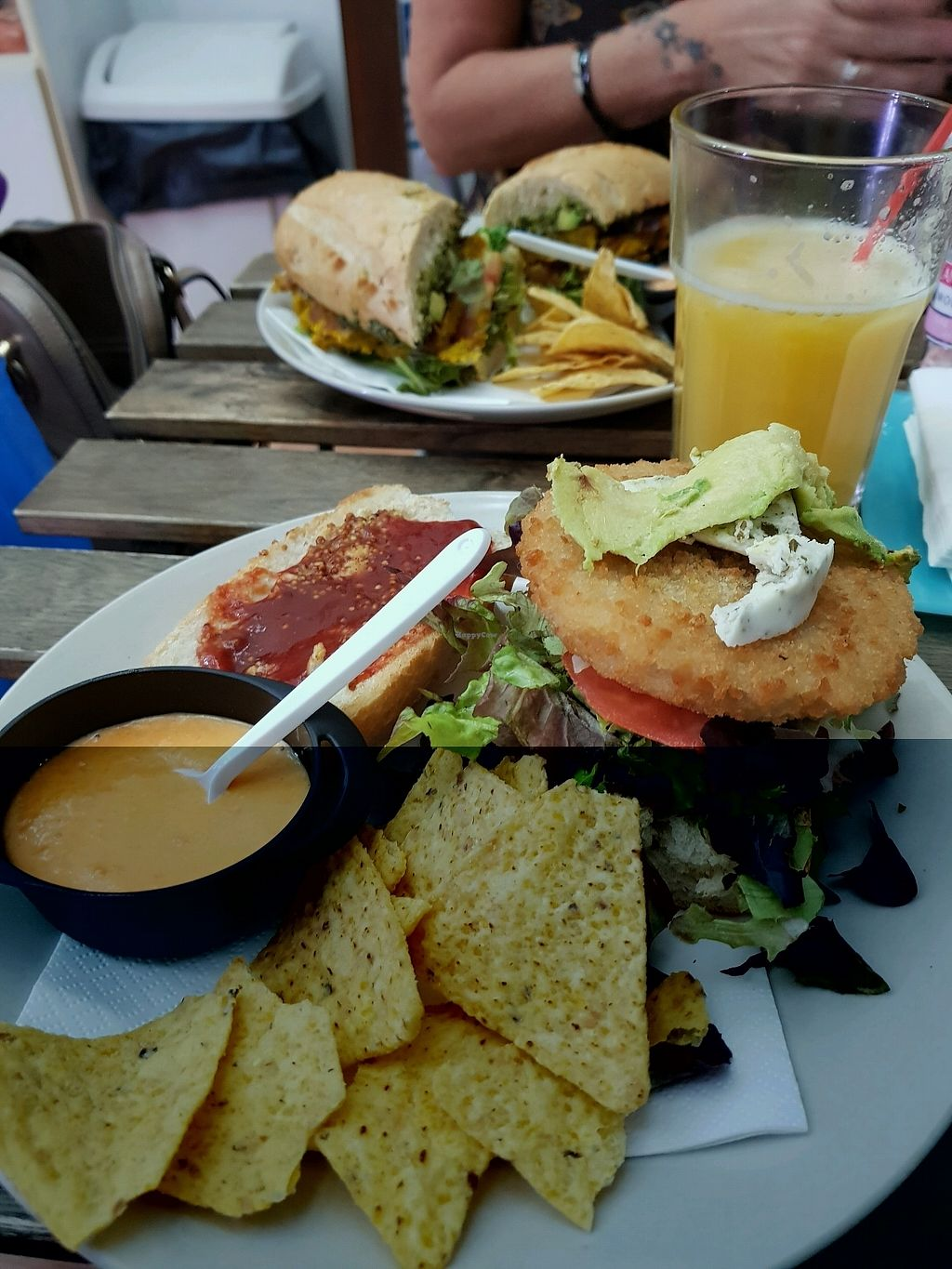 """Photo of El Veganito del Charco  by <a href=""""/members/profile/Disappeared"""">Disappeared</a> <br/>Chickn burger (front) and falafel (behind) <br/> November 17, 2017  - <a href='/contact/abuse/image/66328/326531'>Report</a>"""