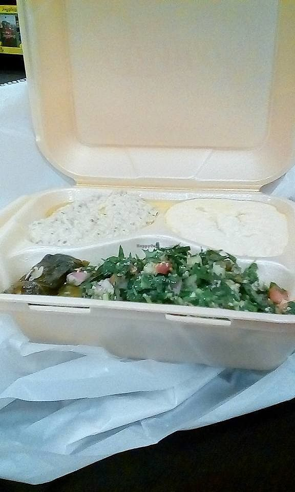 """Photo of Sassool  by <a href=""""/members/profile/Gen-XerJakeJones"""">Gen-XerJakeJones</a> <br/>Sassool platter, includes, tabouli salad, baba ganouche, hummus, grape leaves <br/> October 30, 2017  - <a href='/contact/abuse/image/66399/320267'>Report</a>"""