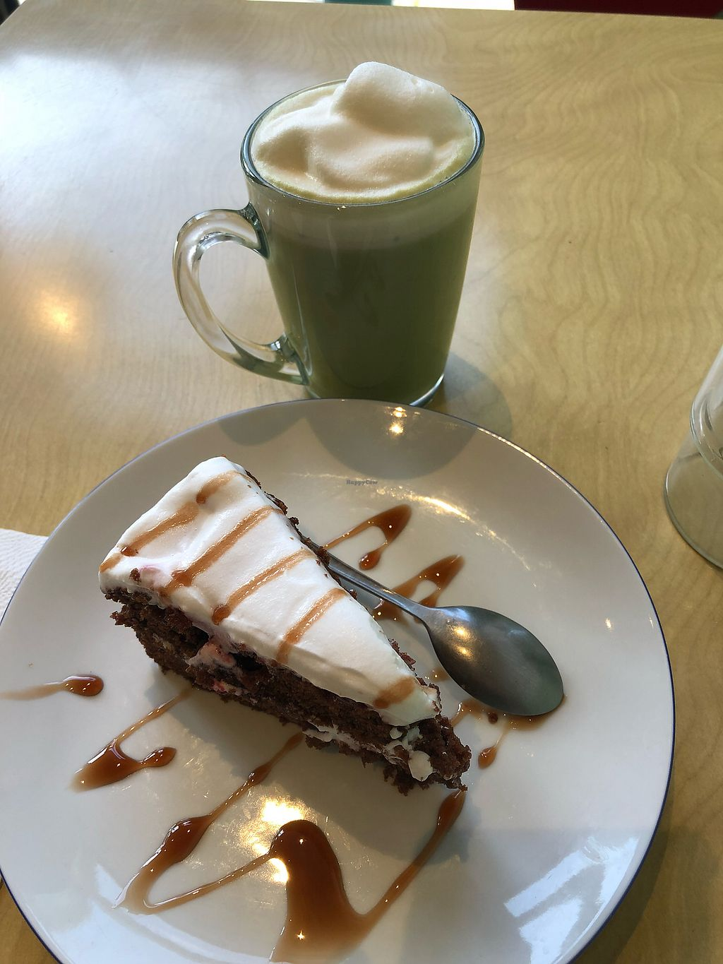 """Photo of Against the Grain  by <a href=""""/members/profile/_hael"""">_hael</a> <br/>Matcha w/ Soya & Cherry Cake Slice <br/> February 14, 2018  - <a href='/contact/abuse/image/66470/359402'>Report</a>"""