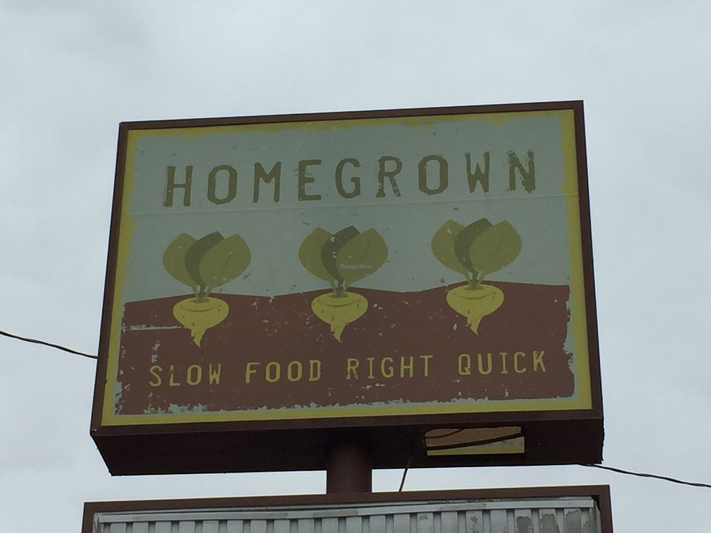 """Photo of Home Grown  by <a href=""""/members/profile/LaurenV"""">LaurenV</a> <br/>Signage on Merrimon <br/> November 30, 2015  - <a href='/contact/abuse/image/66471/126715'>Report</a>"""