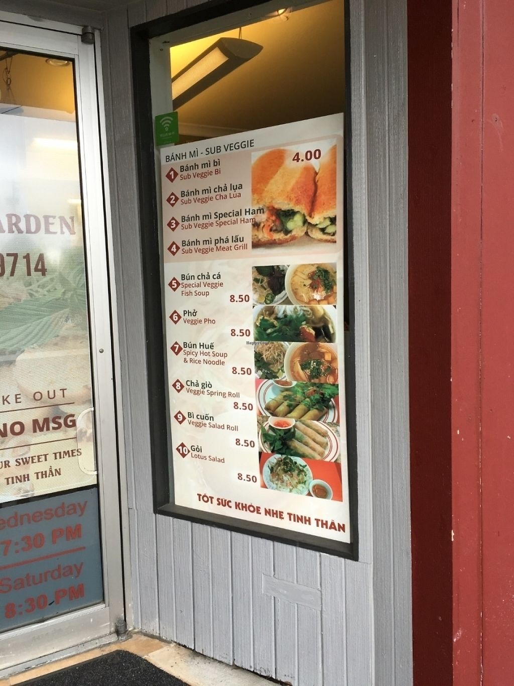 "Photo of Dharma Garden Veggie Deli  by <a href=""/members/profile/vegan%20frog"">vegan frog</a> <br/>Menu outside <br/> June 24, 2016  - <a href='/contact/abuse/image/66482/230770'>Report</a>"