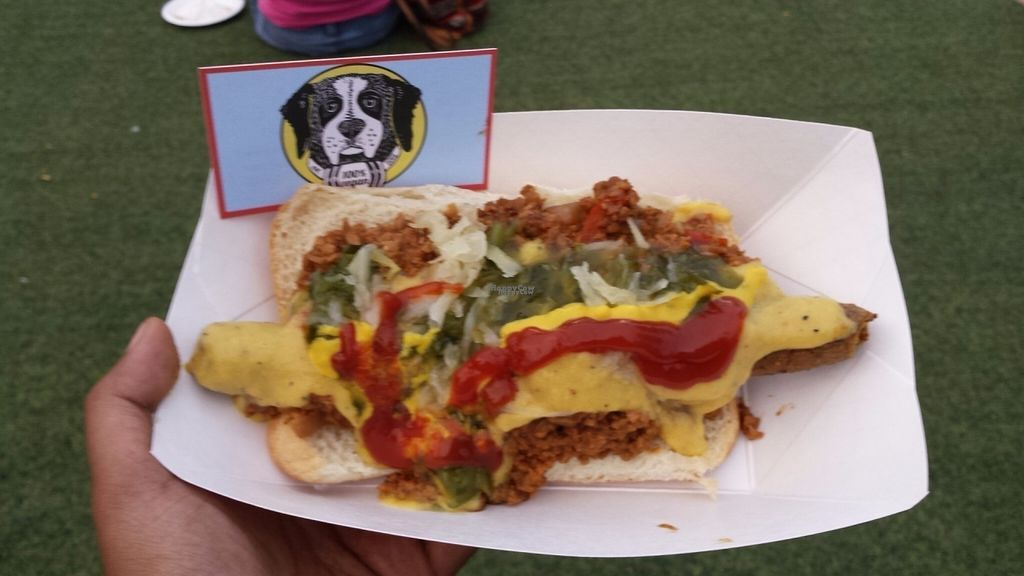 "Photo of Rescue Dogs - Food Cart  by <a href=""/members/profile/BhairaviShankar"">BhairaviShankar</a> <br/>Rescue dog! A warm philly style hotdog. A bit messy without cutlery for sure <br/> September 12, 2016  - <a href='/contact/abuse/image/66512/175316'>Report</a>"