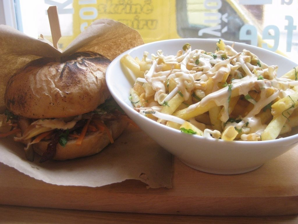 """Photo of CLOSED: Etnosvet Bistro  by <a href=""""/members/profile/jennyc32"""">jennyc32</a> <br/>Mushroom burger and fries <br/> October 26, 2016  - <a href='/contact/abuse/image/66563/184572'>Report</a>"""