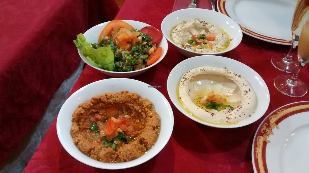 "Photo of Le Cedre  by <a href=""/members/profile/JonJon"">JonJon</a> <br/>Cold dishes (hummus, taboulé, eggplant caviar...) <br/> December 5, 2015  - <a href='/contact/abuse/image/66577/127272'>Report</a>"