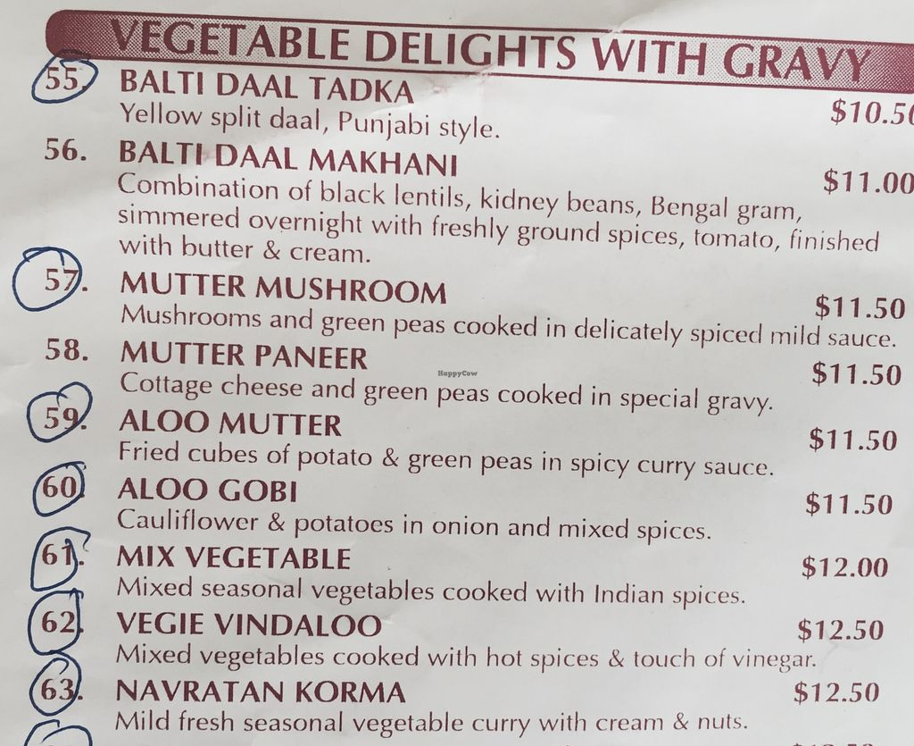 "Photo of Curry Town  by <a href=""/members/profile/karlaess"">karlaess</a> <br/>Vegetable delights with gravy menu ( Vegan/vegan options available circled) <br/> December 5, 2015  - <a href='/contact/abuse/image/66630/127335'>Report</a>"