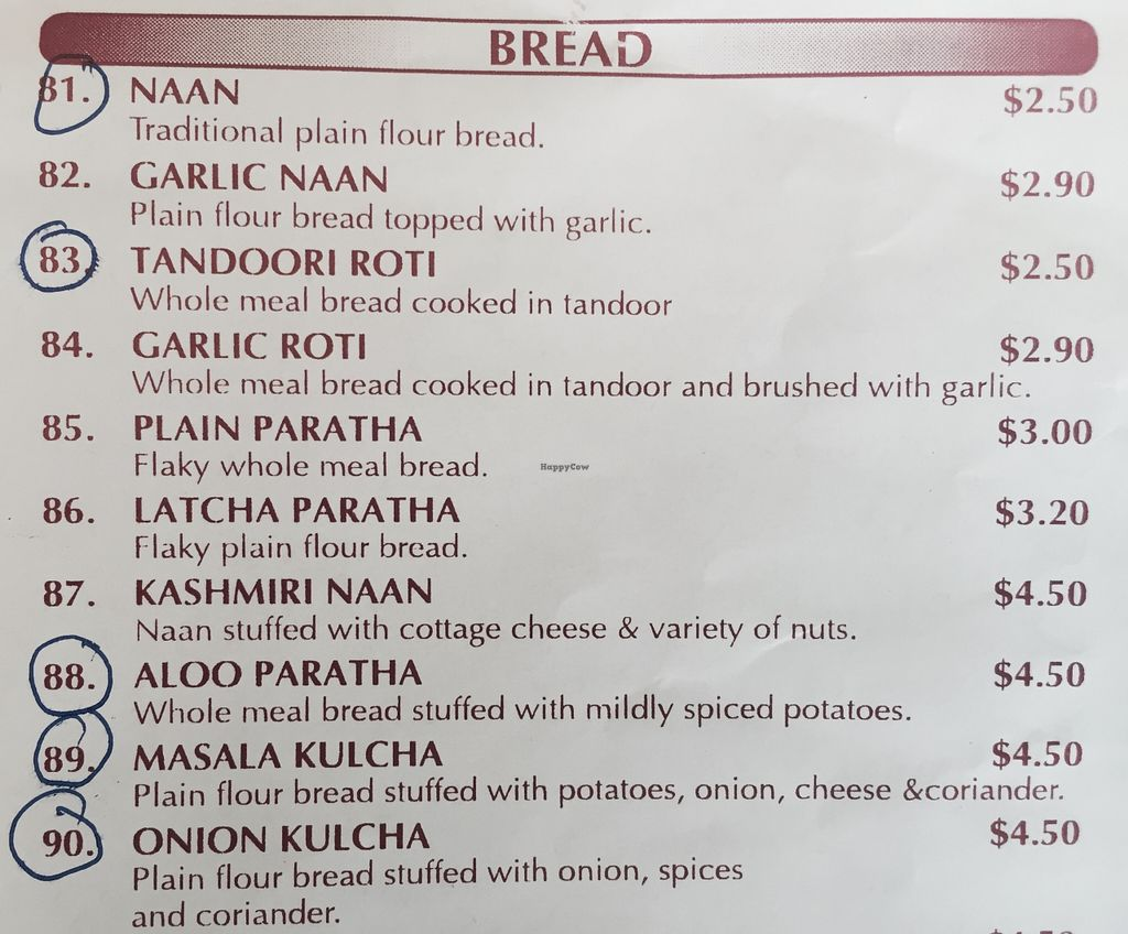"Photo of Curry Town  by <a href=""/members/profile/karlaess"">karlaess</a> <br/>Bread menu ( Vegan/vegan options available circled) <br/> December 5, 2015  - <a href='/contact/abuse/image/66630/127338'>Report</a>"