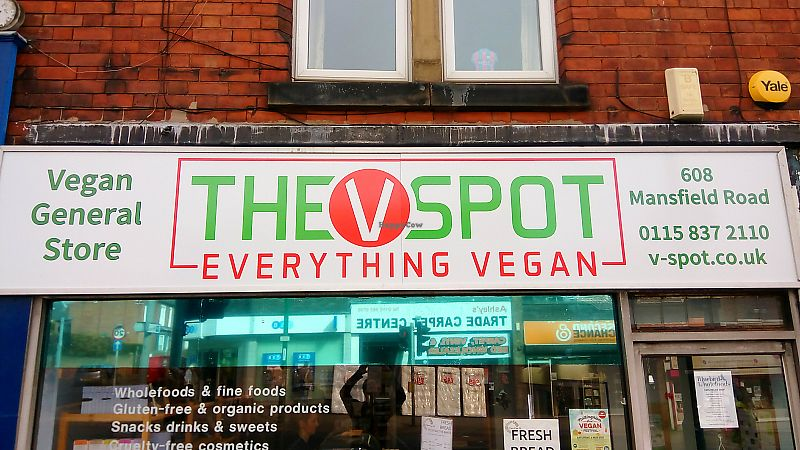 """Photo of The V Spot  by <a href=""""/members/profile/nottsvegan"""">nottsvegan</a> <br/>The V Spot shopfront <br/> June 23, 2017  - <a href='/contact/abuse/image/66712/272534'>Report</a>"""