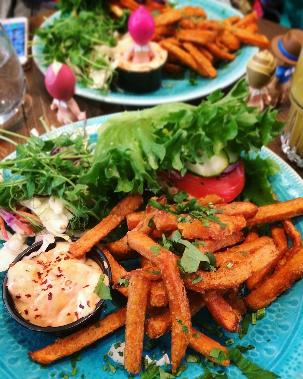 """Photo of Mahalo  by <a href=""""/members/profile/treemelody"""">treemelody</a> <br/>Burger plate; soy burger, salad, sweet potato fries, chili mayo. (Sonny angels not included!) <br/> October 9, 2017  - <a href='/contact/abuse/image/66713/313704'>Report</a>"""