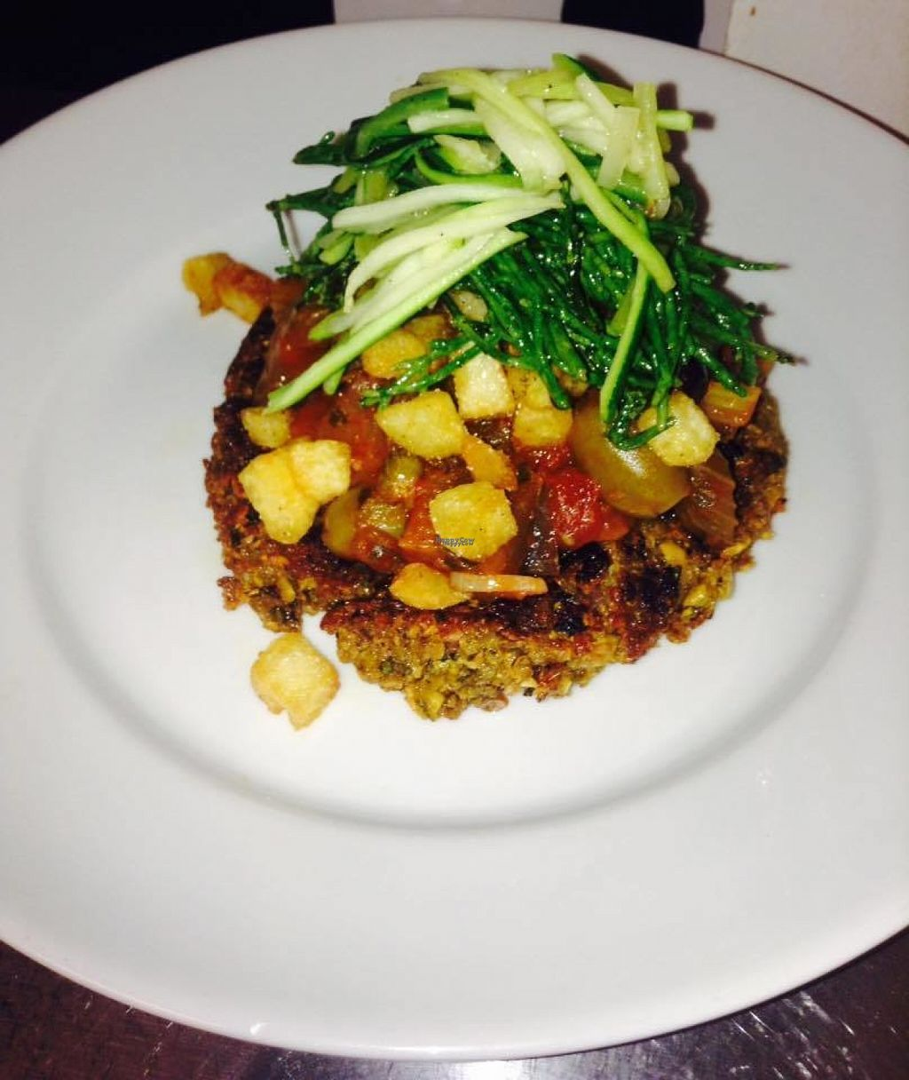 """Photo of CLOSED: The Vittoria  by <a href=""""/members/profile/Meaks"""">Meaks</a> <br/>Spicy chickpea cake with caponata, crispy fried potatoes, courgette spaghetti and samphire <br/> August 3, 2016  - <a href='/contact/abuse/image/66718/164836'>Report</a>"""