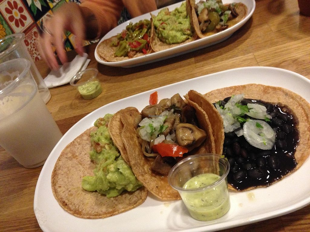 """Photo of Taqueria El Guacamole  by <a href=""""/members/profile/LauraMay"""">LauraMay</a> <br/>3 vegan tacos. Menu <br/> December 5, 2015  - <a href='/contact/abuse/image/66739/127287'>Report</a>"""