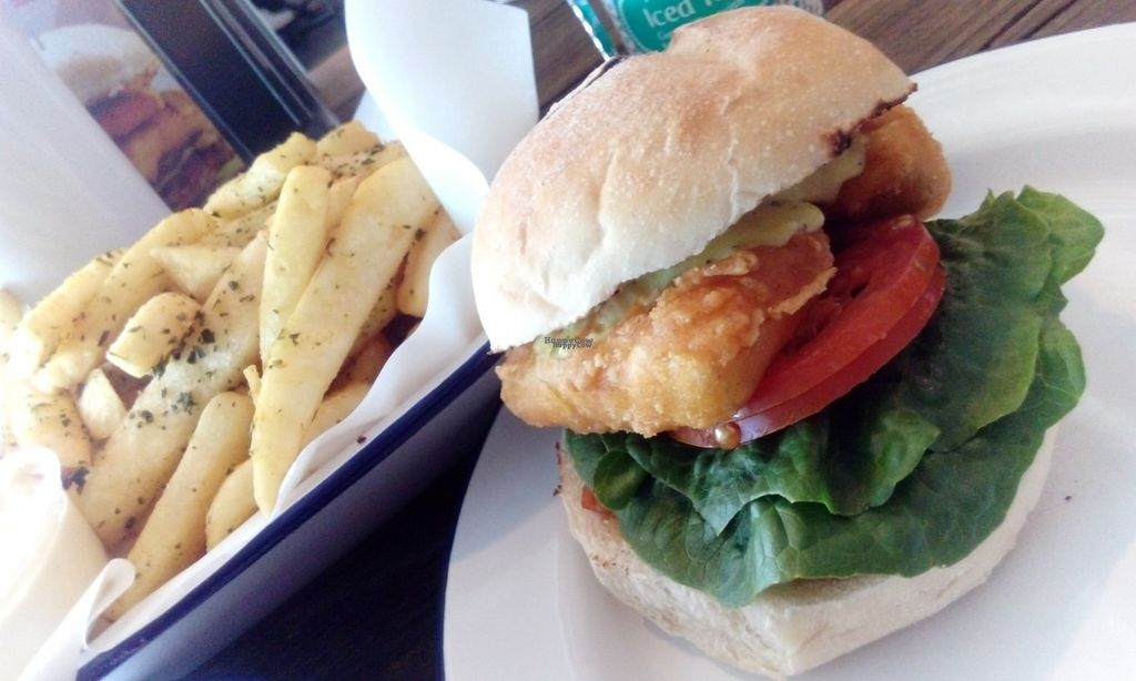 """Photo of Soul Burger - Randwick  by <a href=""""/members/profile/IsabelleTamm"""">IsabelleTamm</a> <br/>Vegan fish burger  <br/> October 13, 2016  - <a href='/contact/abuse/image/66760/181748'>Report</a>"""