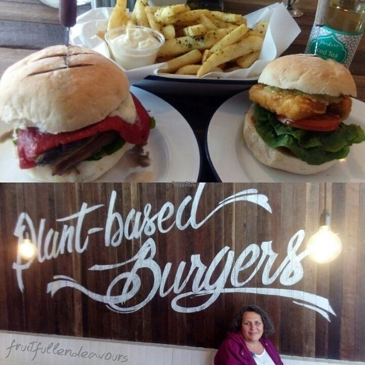 """Photo of Soul Burger - Randwick  by <a href=""""/members/profile/IsabelleTamm"""">IsabelleTamm</a> <br/>Field mushroom and fish burger with herbed chips and a chocolate milkshake <br/> October 13, 2016  - <a href='/contact/abuse/image/66760/181749'>Report</a>"""