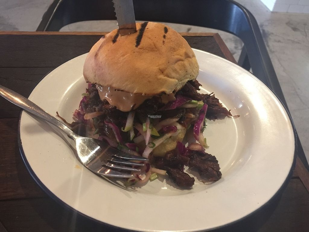 """Photo of Soul Burger - Randwick  by <a href=""""/members/profile/Tiggy"""">Tiggy</a> <br/>Vegan pulled pork burger - December 2016 <br/> December 16, 2016  - <a href='/contact/abuse/image/66760/201633'>Report</a>"""