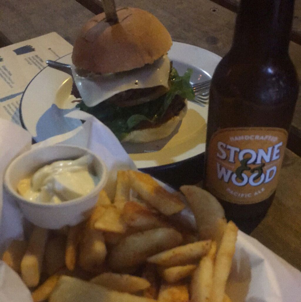 """Photo of Soul Burger - Randwick  by <a href=""""/members/profile/kateofearth"""">kateofearth</a> <br/>Classic Burger, Red Fries and Pacific Ale  <br/> May 10, 2017  - <a href='/contact/abuse/image/66760/257548'>Report</a>"""