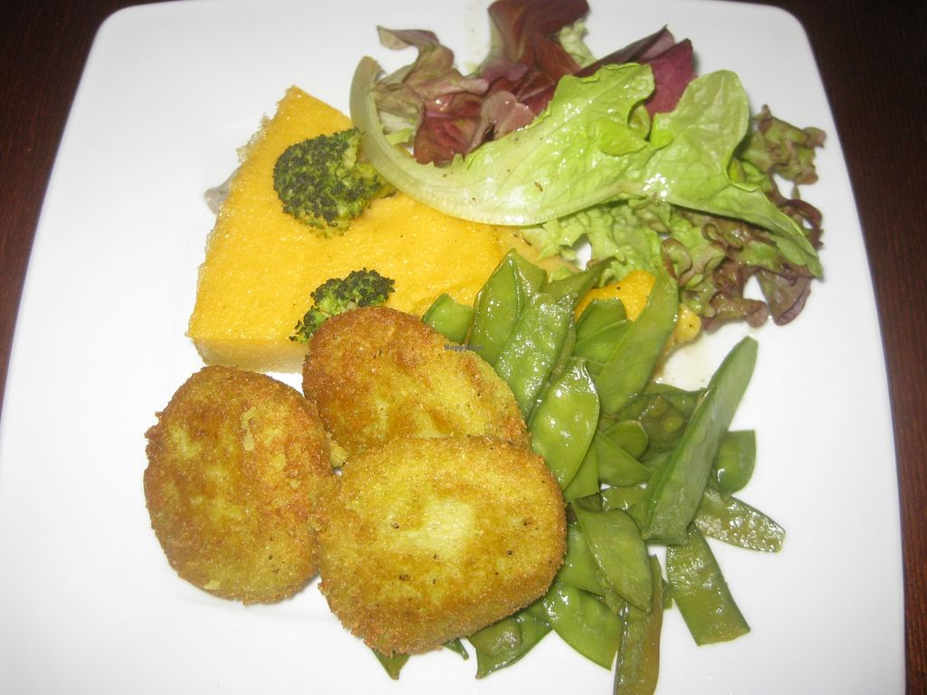 """Photo of CLOSED: Dziupla  by <a href=""""/members/profile/jennyc32"""">jennyc32</a> <br/>Broad bean cutlets with polenta and veg (vegan) <br/> April 9, 2016  - <a href='/contact/abuse/image/66769/143626'>Report</a>"""