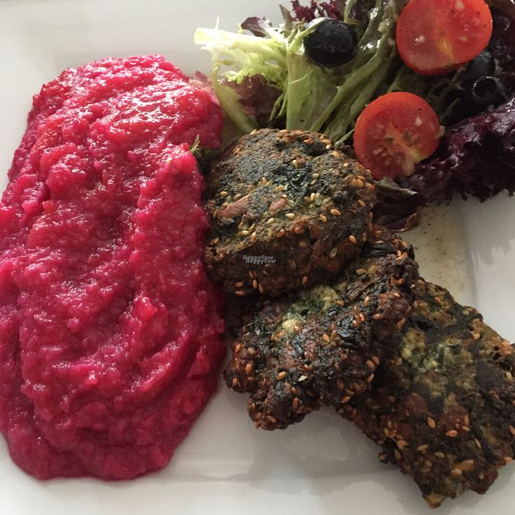 """Photo of CLOSED: Dziupla  by <a href=""""/members/profile/The%20London%20Vegan"""">The London Vegan</a> <br/>spinach and tofu cutlets with beetroot sauce <br/> September 20, 2016  - <a href='/contact/abuse/image/66769/176970'>Report</a>"""