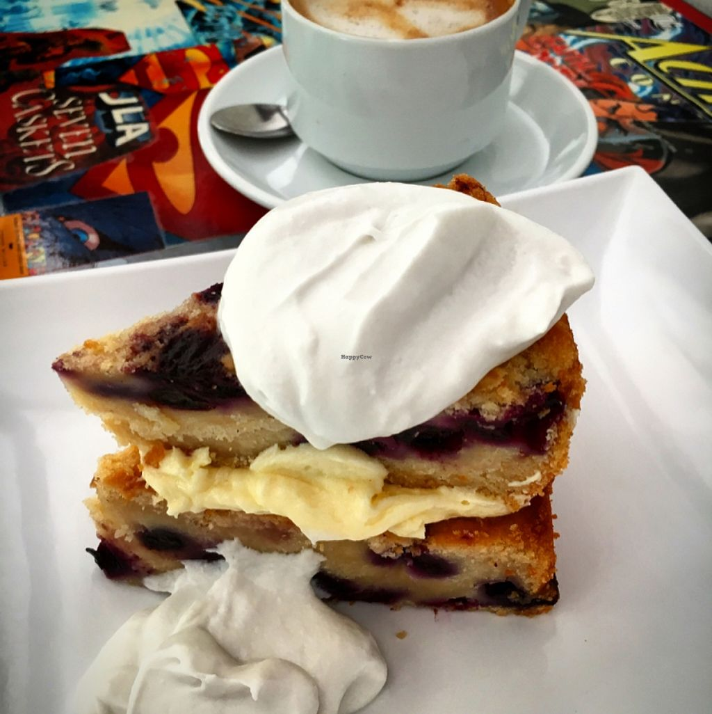 """Photo of Sweet Release Cakes and Treats  by <a href=""""/members/profile/SeitanSeitanSeitan"""">SeitanSeitanSeitan</a> <br/>Vegan Blueberry cake and latte with ricemilk <br/> March 29, 2016  - <a href='/contact/abuse/image/66770/141812'>Report</a>"""